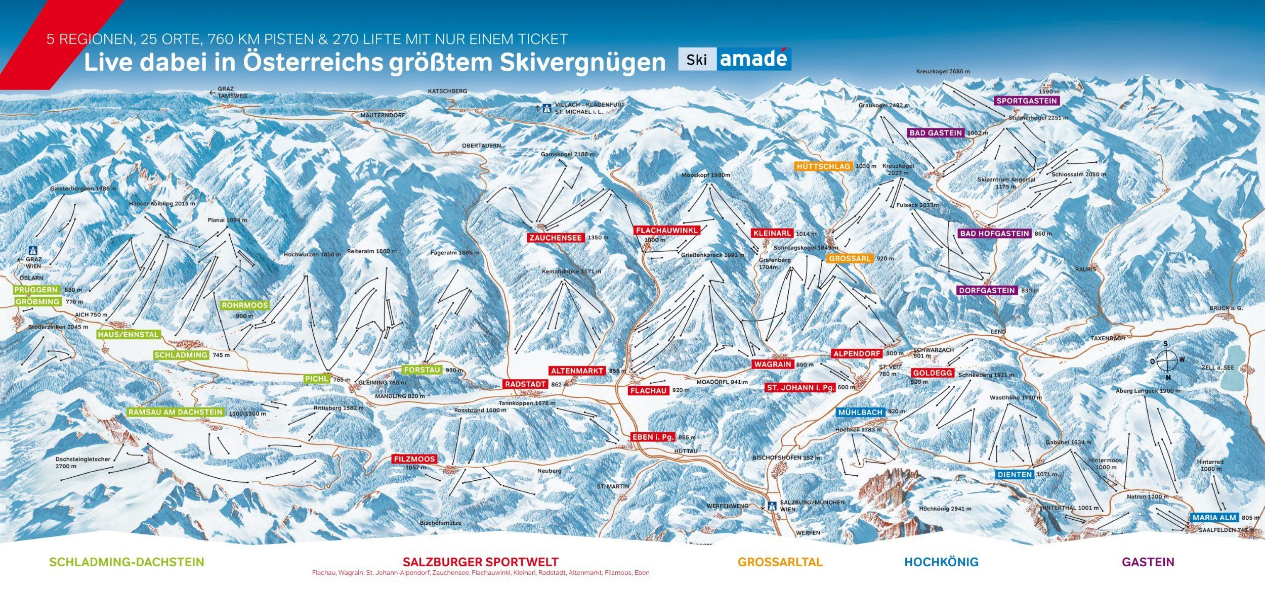 Overzicht van de 5 regio's van de ski Amadé