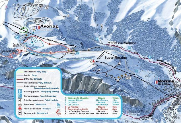 Crosscountry skiing Avoriaz accommodation ski chalets on the