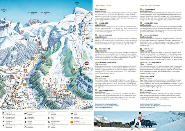 Crosscountry skiing Engelberg accommodation ski chalets on the